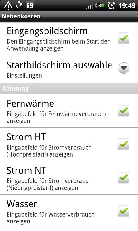 Nebenkosten- screenshot
