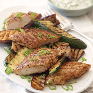 Grilled Chicken and Vegetables with Indian Spices.