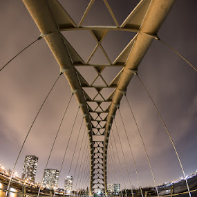 Humber River Bridge by Craig Brown - Buildings & Architecture Bridges & Suspended Structures ( clouds, fisheye, canada, toronto, image, ontario, canon 5d mk iii, landscape, photo, photography, picture, humber river, craig, photographer, night, craig brown, bridge )