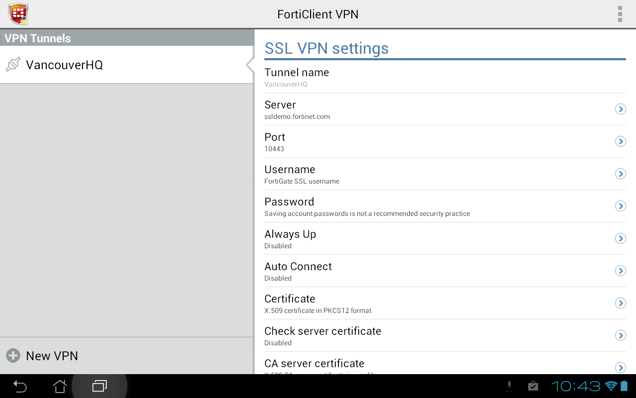 FortiClient VPN – Screenshot