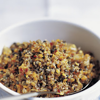 Bulgur and Lentil Pilaf with Caramelized Onions.