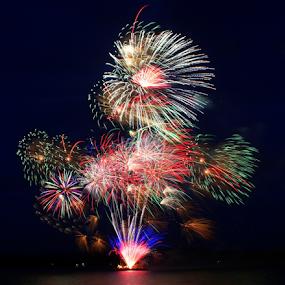 God Bless America! by Mina Thompson - Public Holidays July 4th ( holiday, mill casino, fireworks, oregon coast, patrism )