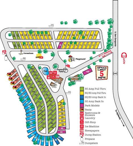 Banning Stagecoach KOA RV Parky - California koa map