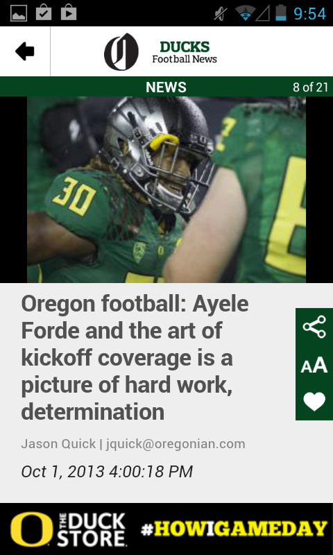 OregonLive: Ducks Football - screenshot