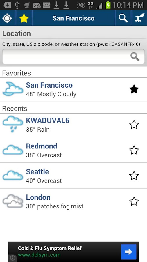 Weather Underground Older Vers - screenshot