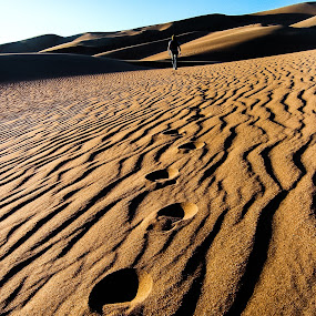 Take only memories by Dale Versteegen - Landscapes Mountains & Hills ( sand, footprints, sunset, open space, great sand dunes, path, nature, landscape,  )