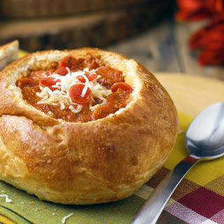 30-Minute Pepperoni Pizza Soup in Bread Bowls