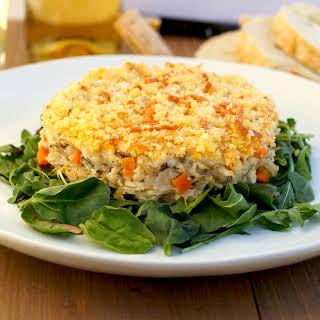 Cheesy Chicken, Cheddar + Wild Rice Casserole.