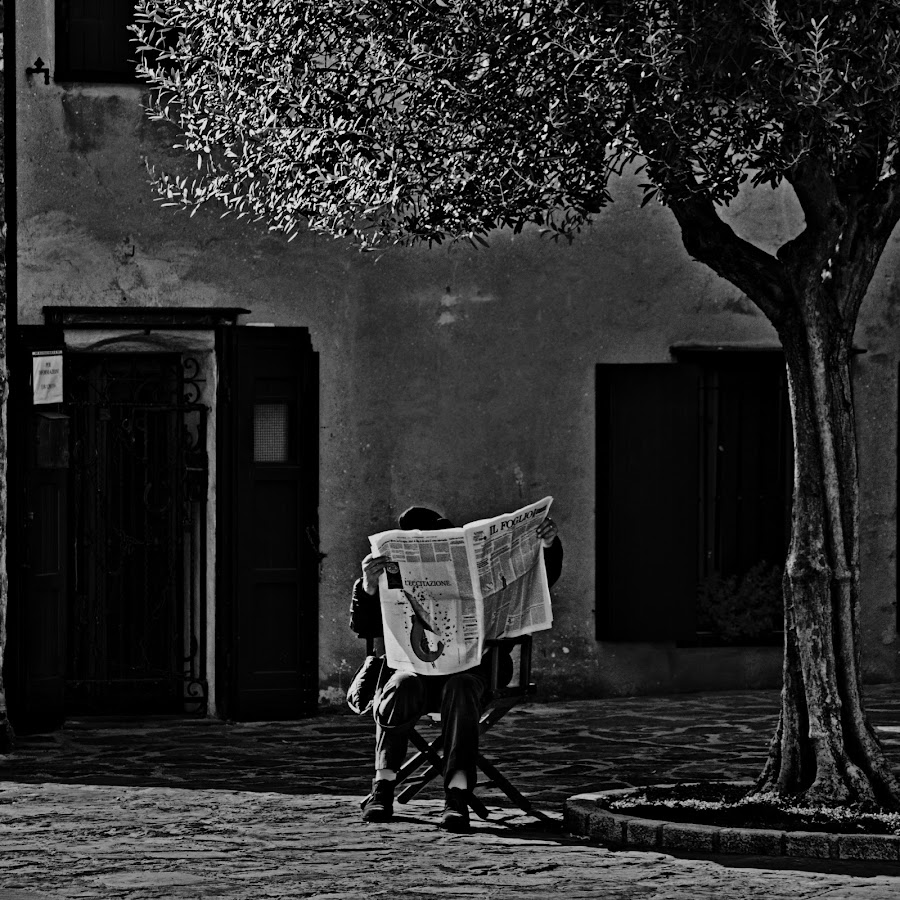 The newspaper reader II by Matevz Skerget - Black & White Street & Candid ( reading, black and white, street, bw, newspaper )