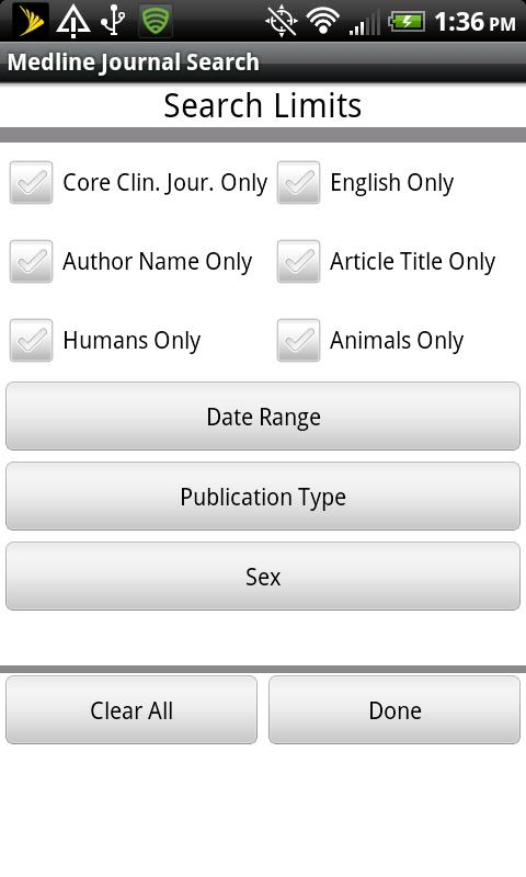 Medline Journal Search- screenshot