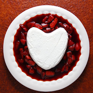 Coeur à la Crème with Caramelized Strawberries.