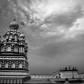 Standing Tall by Neel Gengje - Black & White Buildings & Architecture ( clouds, temple, hills, dome, view, tall )