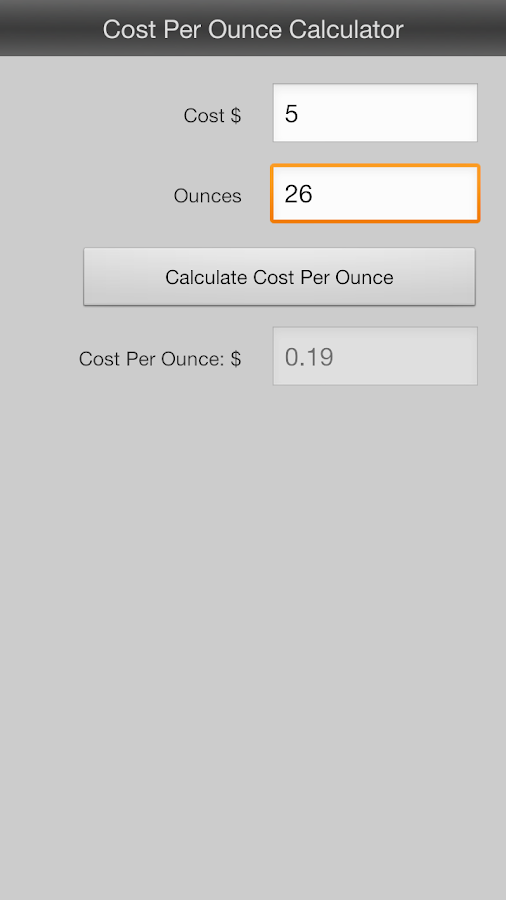 Cost Per Ounce Calculator- screenshot