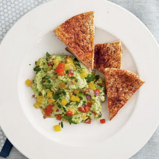 """Edamame """"Guacamole"""" with Chile-Dusted Pita Chips"""