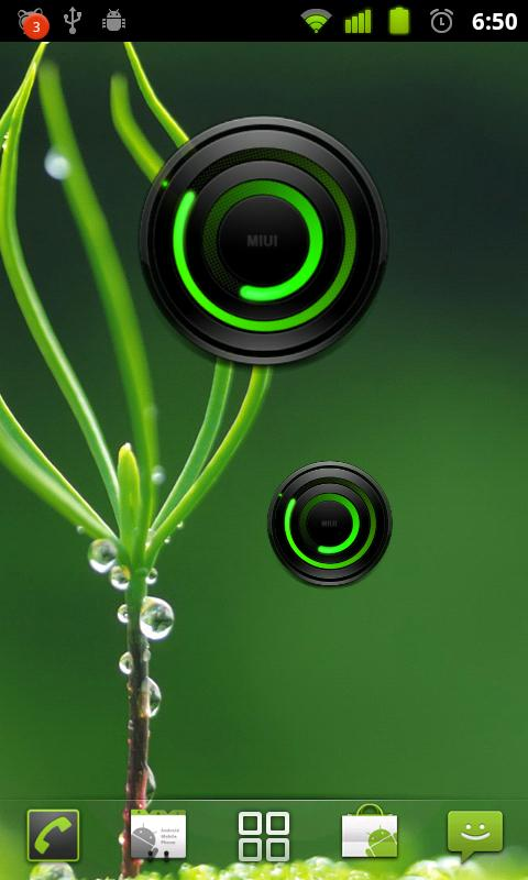 MIUI Spiral GREEN Analog Clock - screenshot