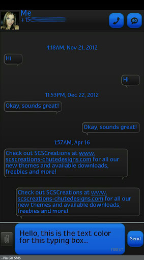 GO SMS - Intense Blue