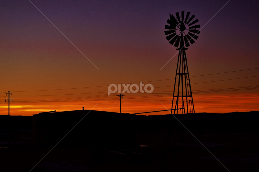 by Chris Burke - Landscapes Weather ( sunset, silhouette, landscapes, pretty, windmill,  )
