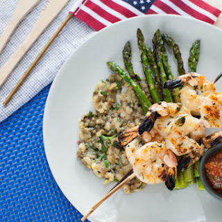 Grilled Shrimp Cocktail with Eggplant Caponata & Asparagus