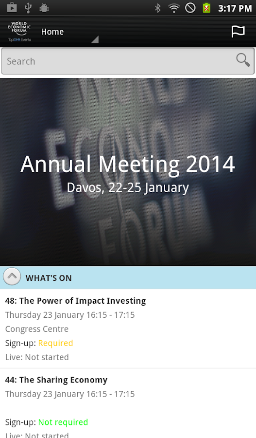 World Economic Forum Events - screenshot