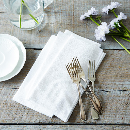 White Seersucker Cloth Napkins (Set of 4)