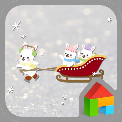 個人化必備App|행복한 토끼썰매 도돌런처 테마 LOGO-綠色工廠好玩App