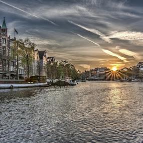 The Amsterdam Amstel Canal @ Golden Sunset by Marcel de Groot - City,  Street & Park  Neighborhoods ( sunset, amsterdam, gold, canal, amstel )