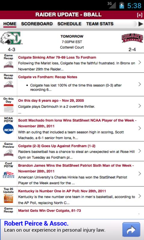 Colgate Football & Basketball - screenshot