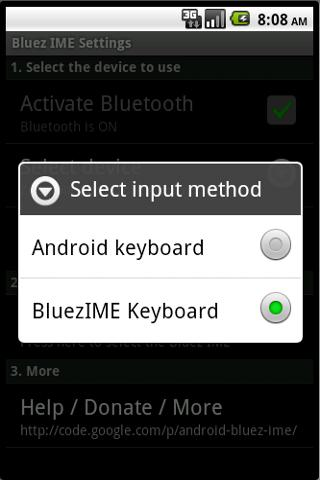 Bluez IME - screenshot