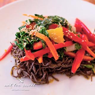 Orange Bok Choy and Black Bean Noodle Salad.