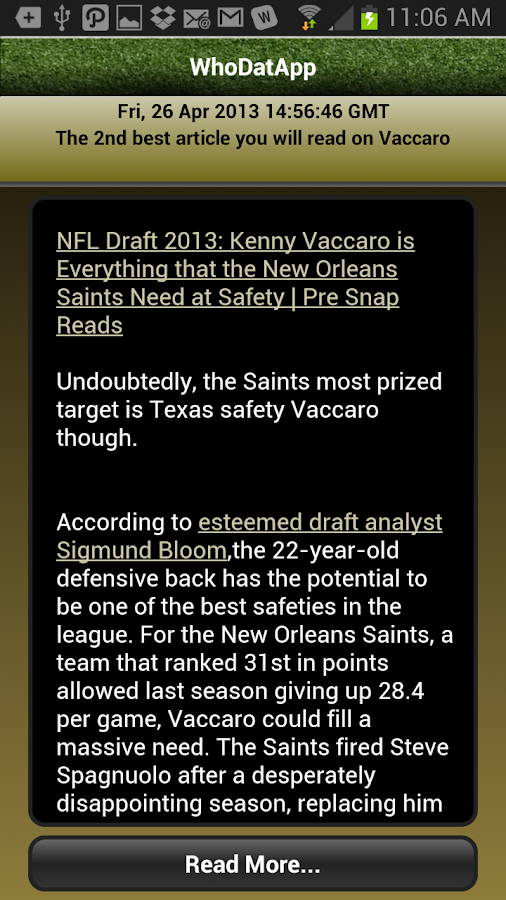WhoDatApp - New Orleans Saints - screenshot