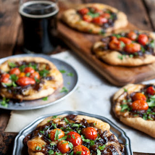 Porter Caramelized Onion Flatbreads with Smoked Gouda and Roasted Tomatoes Recipe