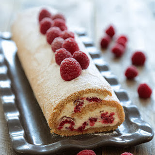 Spiced Raspberry and Light Vanilla Whipped Cream Jelly Roll.