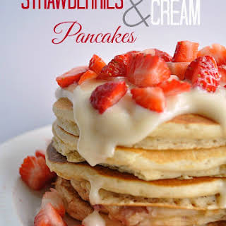 Strawberries and Cream Pancakes.