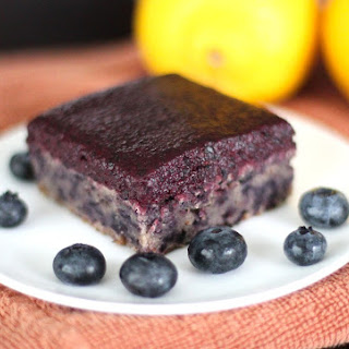 Healthy Blueberry Muffin Blondies with Blueberry Frosting (gluten free, vegan)
