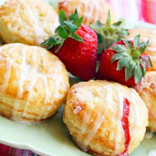Fruit-Filled Puff Pastry Donuts with Lemon Glaze.