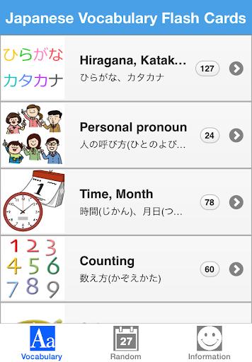 Japanese Vocabulary Flash Card