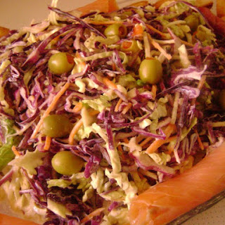 Red and Lombarda Cabbage Salad with Smoked Salmon and Yogurt Sauce