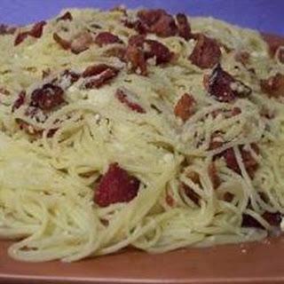 Garlic and Bacon Spaghetti.