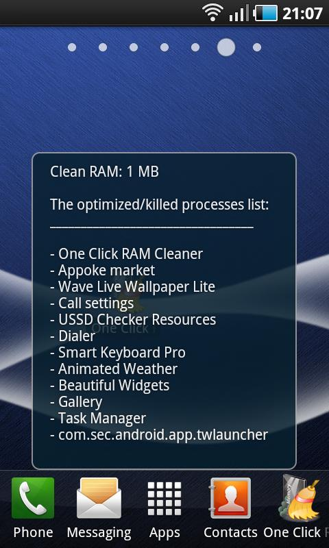 One Click RAM Cleaner - screenshot