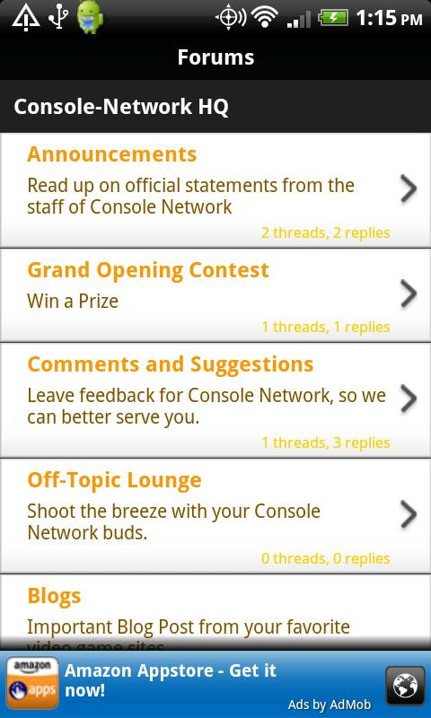 Console Network Mobile - screenshot