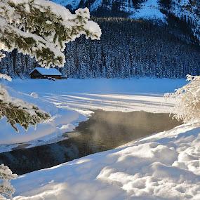 Winter Cabin by  J B  - Landscapes Weather ( lake louise, cabin, winter scene, winter, sun rays )