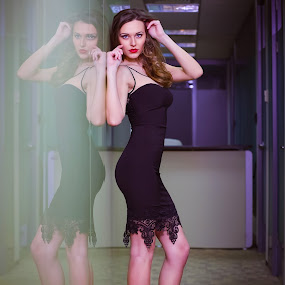 Double is better by Costi Manolache - People Fashion ( office, fotoevent88, reflection, red lips, blue eyes, black dress )