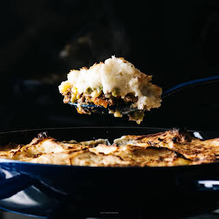 Shepherd's Pie with Roasted Garlic Cream Cheese Mashed Potatoes.