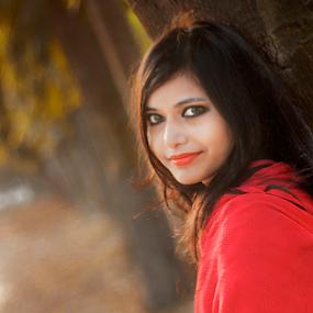 Himika by Arafat Chowdhury - People Portraits of Women ( himika at zia uddan bangladesh orange lipstick and red shawl  sunset yellow and green background tree branch )