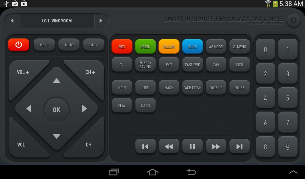 Smart IR Remote - Samsung/HTC - screenshot