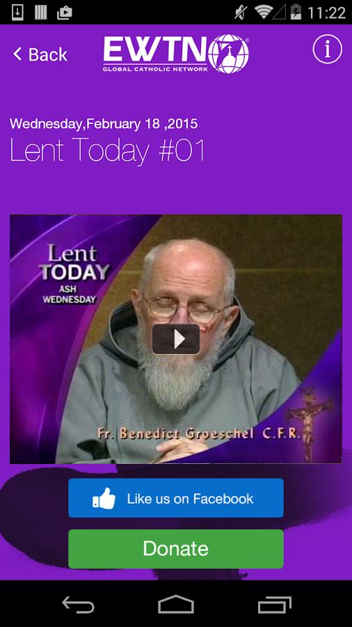 EWTN:  Lenten Reflections 2015 - screenshot