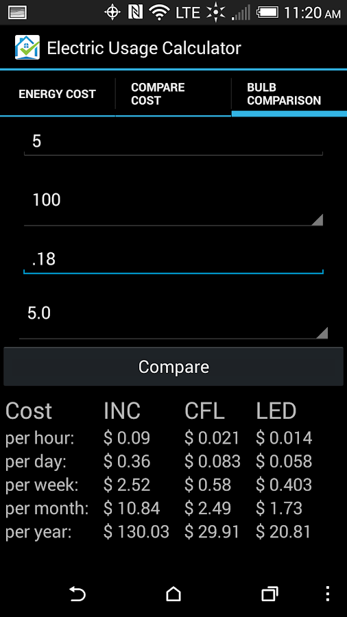 Electricity Cost Calculator Android Apps On Google Play