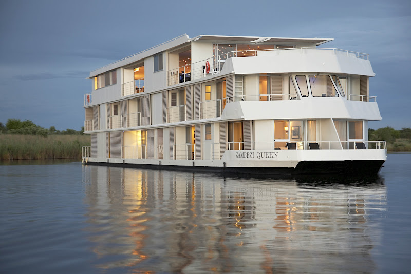 Take a river safari aboard the Zambezi Queen to see wildlife and take in the rustic vistas along Africa's Chobe River.