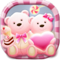 Cute Bear love  honey with Pink hearts DIY Theme download