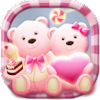 Cute Bear love  honey with Pink hearts DIY Theme APK Icon